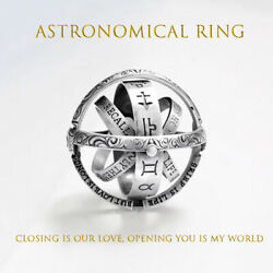 Gold Astronomical Ring For women ball mood rings Creative Complex Rotating