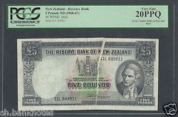 New Zealand 5 Pounds Nd1960-67 P160d Error Issued Note Very Fine