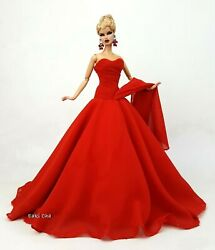 Eaki Handmade Red Evening Dress Outfit Gown For Silkstone Fashion Royalty FR $19.99