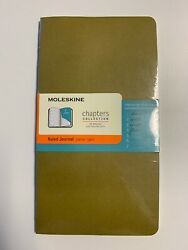 3x Moleskine Chapters Journal Slim Large Ruled Tawny Olive Soft Cover 4.5 X 8.25