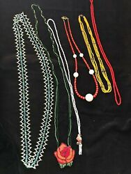 Vintage Native American Assorted Beaded Necklaces Lot Of 6