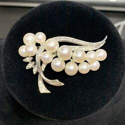 Vintage Diamond And Akoya Pearl Pin Brooch In 14k White Gold