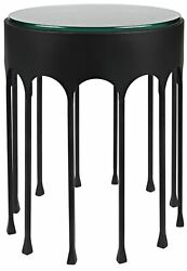 20 W Set Of 2 Accent Table Round Glass Top Modern Black Metal Arch Frame