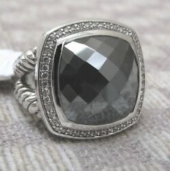 Large David Yurman Sterling Albion Ring With Hematine And Diamonds Retail 1900
