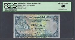 Yemen 10 Rials Nd 1981 P18as Specimen Perforated Extremely Fine