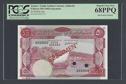 Yemen South Arabia 5 Pounds Nd1965 P4bs Specimen Tdlr Uncirculated