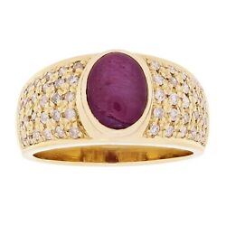 18k Yellow Gold 0.60ctw Star Ruby And Diamond Vintage Band Size 9