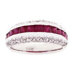 14k White Gold 1.59ctw Ruby And Diamond 3-row Raised Art Deco Polished Ring Size 7