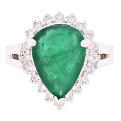 14k White Gold 0.60ctw Emerald And Diamond Tear Drop Halo Cluster Cocktail Ring
