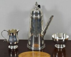 Sterling Stieff Williamsburg 3pc Coffee Set With Cream And Sugar Cw 29