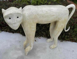 Rare Mid Century Life Size Carved White Washed Wood Monkey Sculpture