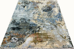 Indian 8x10 240x300 Hand Knotted Modern Oxidized Wool Art Silk Carpet Area Rug
