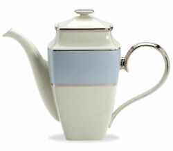 Lenox Blue Frost Platinum Banded Ivory China Square Coffeepot