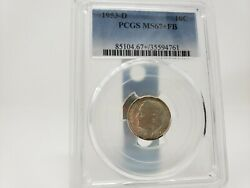 1953 D Roosevelt Silver Dime Graded Pcgs Ms67+ Fb None Higher