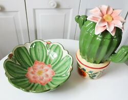 New Cookie Jar With Bowl Green Cactus Flower Ceramic Canister Decor Gift Spring