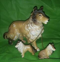 Collie Sheltie Figurine With 2 Puppies On Chain Sable 5.5t Matte Finish Japan