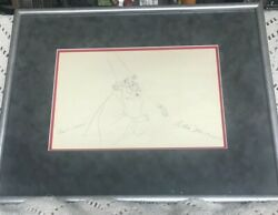 Walt Disney The Sword In The Stone Merlin Pencil Drawing - Signed By Two Artists