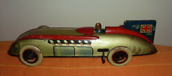 Malcolm Campbell's Bluebird Windup Tinplate Land Speed Record.made In Uk.