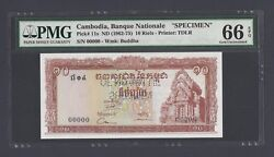 Cambodia 10 Riels Nd1962-75 P11s Specimen Perforated Uncirculated