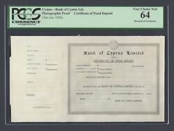 Cyprus - Certificate Of Fixed Deposit 19ca.1956 Photograph Proof Unc