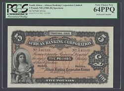 South African 5 Pounds Nd1900-20 Ps554s Specimen Uncirculated