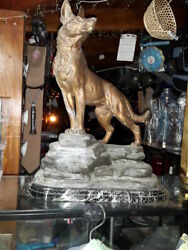 antique statue l.calvin artist french - dog  only 1 not in museum - investment