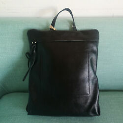 Women/ Men Unisex Real Leather Raw Edge Vintage Small Backpack Rucksack Day Bag