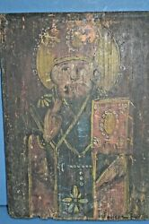 Rare Large Antique 19th Century Russianhandpainted Icon,on Wood Panel ,c1850