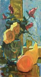 Flowers And Fruits, Flowers On The Table, Still Life, Oil Painting