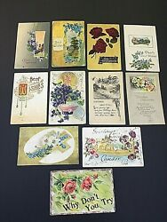 Lot 11 Antique 1908-1912 Oh Pa Usa Post Cards Happy Easter Birthday Best Wishes