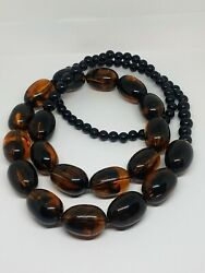 Vintage Amber And Black Lucite Long Beaded Necklace
