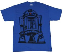 Star Wars Movie Menand039s R2-d2 Blue Graphic Red Dot Short Sleeve Tee Shirt New