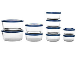 20-piece Glass Food Storage Set 10 Clear Containers With 10 Blue Lids