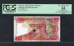Malaysia 10 Ringgit Nd1989 P29s Specimen Tdlr Uncirculated
