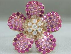 Large 3.91ctw Diamond Pink Sapphire 14kt Rose Gold Flower Cocktail Ring R59706r