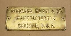 Vintage Fairbanks Morse And Co. Wwii Brass Ship Or Submarine Engine Plaque - Large