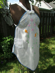 Vintage White Cotton Full Apron With Multi Color Embroidery