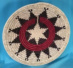 Large Navajo Coiled Modified Ceremonial Wedding Basket, Bessie Holiday, 17.5 D