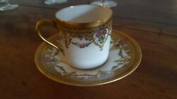 Antique Gilded French Limoges Fine Bone China Demitasse Cup And Saucer 1800s