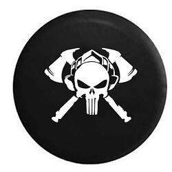 Spare Tire Cover Fire Dept Crossed Axes And Helmet Patriot Skull Jk Accessories