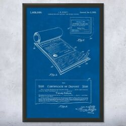 Framed Certificate Of Deposit Print Accountant Gift Office Decor Trader Gifts