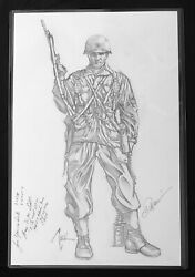 Sgt Rock Full Pencil Sketch By Billy Tucci Signed By Moh Awardee W/copy Of Hc