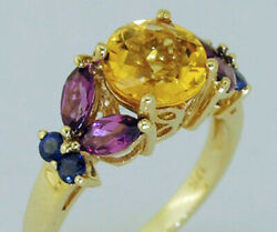 R233 Genuine 9k Or 18k Gold Natural Citrine, Rhodolite And Sapphire Solitaire Ring
