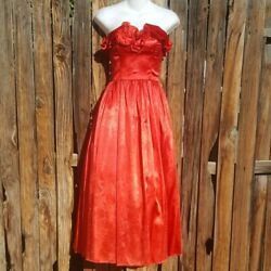 Vintage Gunne Sax Red Rose Southern Belle Ruffle Sleeveless Ball Gown