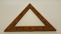 Antique Victorian Triangle Wood Cribbage Board Inlaid Marquetry