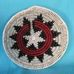 Navajo Coiled Ceremonial Wedding Basket By Peggy Rock Black, 7 1/2 D., New