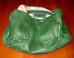 Andrew Marc Grass Green Hobo Shoulderbag Soft Leather Brass Tone Hw Side Pockets