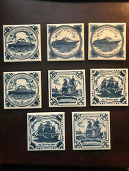Holland America Cruise Line Collectible Delft Blue Coasters Tiles Set Of 8