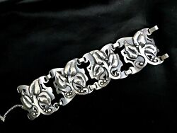 Vintage Danish Style Large Sterling Silver Bracelet From 1950th Hand Made