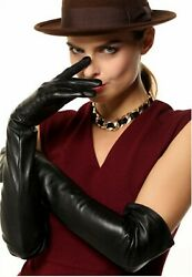 Genuine Leather Opera Length Party Plain Evening Elbow Gloves